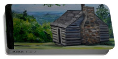 Portable Battery Charger featuring the painting Cabin On The Blue Ridge Parkway In Va by Julie Brugh Riffey