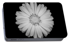 Portable Battery Charger featuring the photograph Calendula Flower - Black And White by Laura Melis