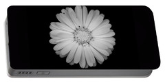Calendula Flower - Black And White Portable Battery Charger