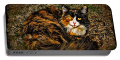 Calico Cat Portable Battery Charger by Joan  Minchak