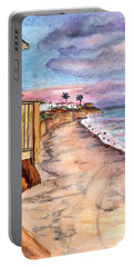 Portable Battery Charger featuring the painting California Coast by Clara Sue Beym