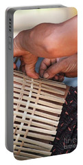 Portable Battery Charger featuring the photograph Cambodian Basket Weaver by Nola Lee Kelsey