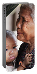 Cambodian Grandmother And Baby #1 Portable Battery Charger by Nola Lee Kelsey