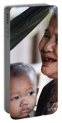 Cambodian Grandmother And Baby #2 Portable Battery Charger by Nola Lee Kelsey