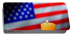 Candle And American Flag Portable Battery Charger