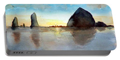 Cannon Beach Sunset Portable Battery Charger by Chriss Pagani