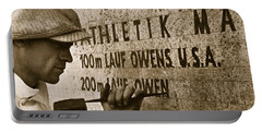 Carving The Name Of Jesse Owens Into The Champions Plinth At The 1936 Summer Olympics In Berlin Portable Battery Charger by American School