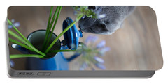 Cat And Flowers Portable Battery Charger