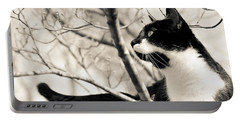 Cat In A Tree In Black And White Portable Battery Charger