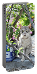 Cat Of Mykonos Portable Battery Charger by Laura Melis