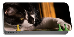 Cat Playing A Game Portable Battery Charger