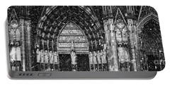 Portable Battery Charger featuring the photograph Cathedral In The Snow Panorama by Andy Prendy