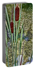 Portable Battery Charger featuring the photograph Cattails Along The Pond by Don Schwartz