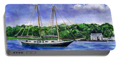 Portable Battery Charger featuring the painting Cedar Beach Schooner by Clara Sue Beym