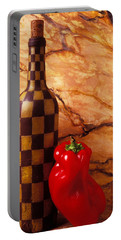 Checker Wine Bottle And Red Pepper Portable Battery Charger