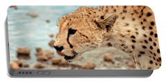 Cheetah Headshot Portable Battery Charger by Darcy Michaelchuk