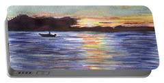 Portable Battery Charger featuring the painting Chesapeake Dusk Boat Ride by Clara Sue Beym