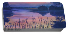 Portable Battery Charger featuring the painting Chincoteaque Island Sunset by Julie Brugh Riffey