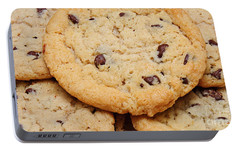Portable Battery Charger featuring the photograph Chocolate Chip Cookies Pano by Andee Design