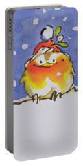 Christmas Robin Portable Battery Charger by Diane Matthes