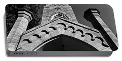 Church Facade In Black And White Portable Battery Charger