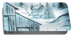 Portable Battery Charger featuring the drawing Colorado Farm by Shannon Harrington