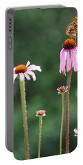 Coneflowers And Butterfly Portable Battery Charger