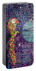 Portable Battery Charger featuring the painting Confetti Bird by Donna Howard