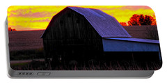 Portable Battery Charger featuring the photograph Cornfield Barn Sky by Randall Branham
