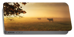 Cows In A Foggy Field Portable Battery Charger