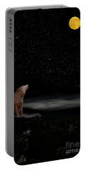 Portable Battery Charger featuring the photograph Coyote Howling At Moon by Dan Friend