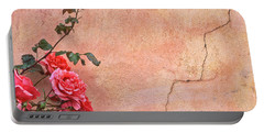 Cracked Wall And Rose Portable Battery Charger