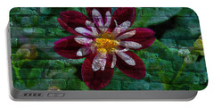 Crazy Flower Over Brick Portable Battery Charger by Eric Liller