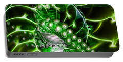 Creatures Of The Deep - Octopus Caught In The Swirl Of The Giant Nautilus - Electric - Green Portable Battery Charger