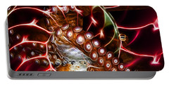 Creatures Of The Deep - Octopus Caught In The Swirl Of The Giant Nautilus - Electric - Orange Portable Battery Charger