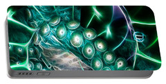 Creatures Of The Deep - Octopus Caught In The Swirl Of The Giant Nautilus - Electric - Square - Cyan Portable Battery Charger