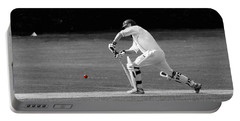 Cricketer In Black And White With Red Ball Portable Battery Charger