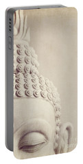 Cropped Stone Buddha Head Statue Portable Battery Charger by Lyn Randle