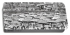 Crowded Beach Black And White Portable Battery Charger