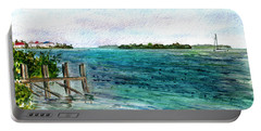 Portable Battery Charger featuring the painting Cudjoe Bay by Clara Sue Beym