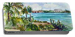 Portable Battery Charger featuring the painting Cudjoe Key Bridge by Clara Sue Beym
