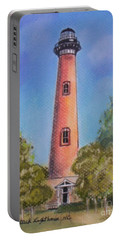 Portable Battery Charger featuring the pastel Currituck Lighthouse Nc by Julie Brugh Riffey