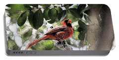 Portable Battery Charger featuring the photograph Daddy Cardinal by Donna G Smith