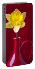 Daffodil In Red Pitcher Portable Battery Charger