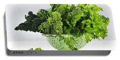 Dark Green Leafy Vegetables In Colander Portable Battery Charger