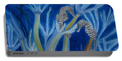 Portable Battery Charger featuring the painting Date Night On The Reef by Julie Brugh Riffey