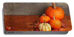 Decorative Fall Pumpkins Portable Battery Charger by Verena Matthew