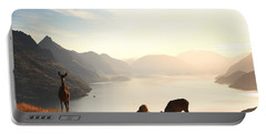 Deer At Sunset Portable Battery Charger