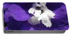 Portable Battery Charger featuring the photograph Delphinium Named Blue With White Bee by J McCombie