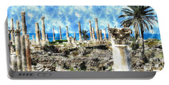 Portable Battery Charger featuring the photograph Do-00549 Ruins And Columns - Town Of Tyr by Digital Oil